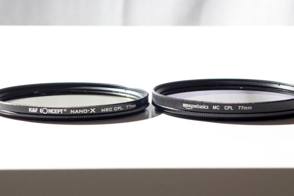 K&F ConceptのCPLフィルターとAmazon basicksのCPLフィルター厚みの比較